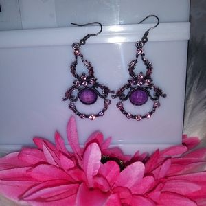 Fashion Jewelry Dangling Earrings Purple